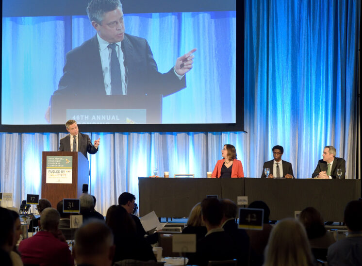 Economic Development Council of Seattle and King County with keynote speakers including Washington State Governors C. Gregoire J. Inslee, Actor Tom Skeritt and other business leaders