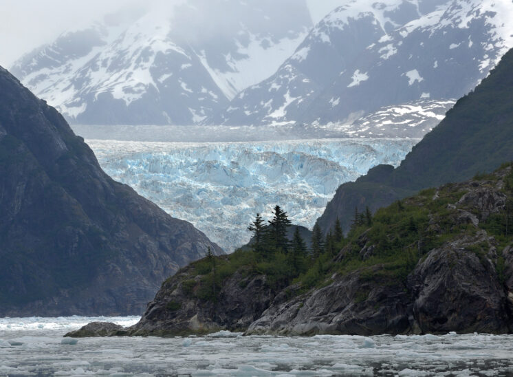 Tracy Arm, Alaska with exposed glacial retreat