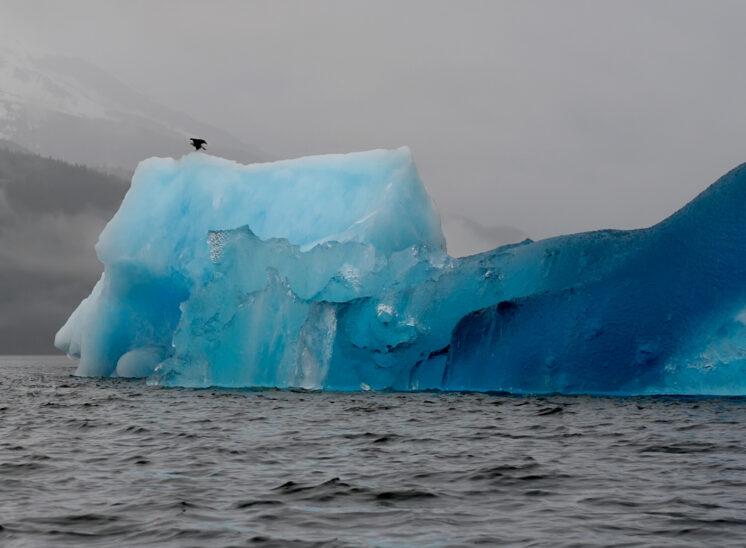 Iceberg up close with stunning blue