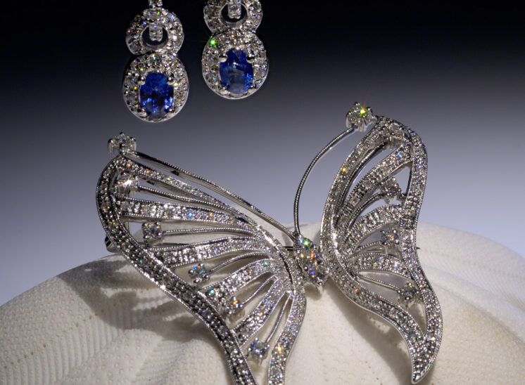 From a series shot with a custom-built, proprietary lighting system designed to capture the inner fire, fine jewelry sparkles for the camera. In this shot, the butterfly is sitting on a sea biscuit, with a pair of stunning tanzanite and diamond earrings. Jerry and Lois Photography