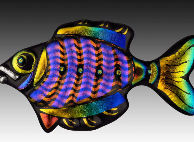 Dichroic Glass Fish pendant presenting extreme detail and vibrant color