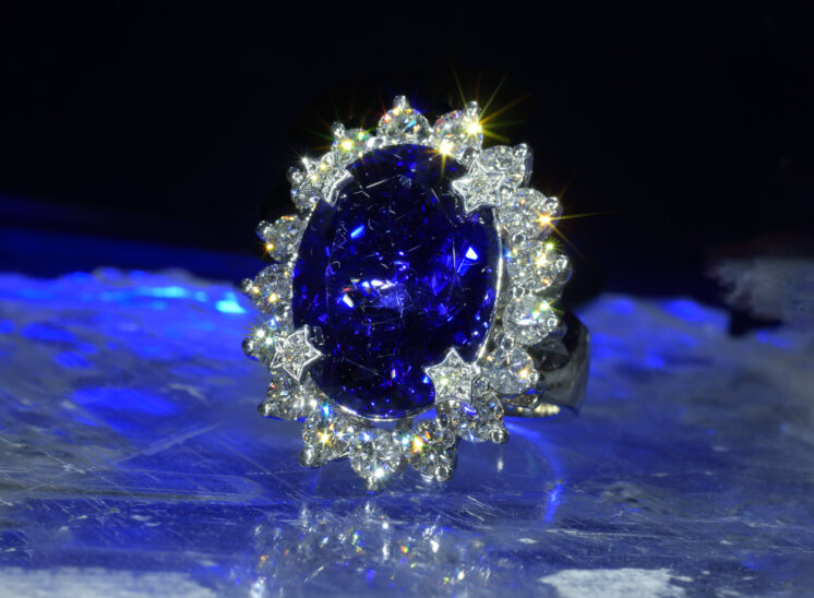 From a series shot with a custom-built, proprietary lighting system designed to capture the inner fire, fine jewelry sparkles for the camera. In this shot, an out of this world Tanzanite ring with custom-set diamonds. Jerry and Lois Photography