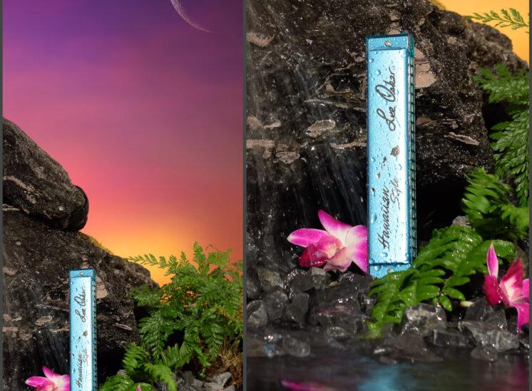 Lee Oskar Harmonicas, product shot detail, special edition Hawaiian Blue and custom set design
