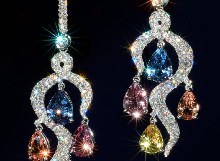 From a series shot with a custom-built, proprietary lighting system designed to capture the inner fire, fine jewelry sparkles for the camera. In this shot, matching sapphires and diamonds scintillate. Jerry and Lois Photography