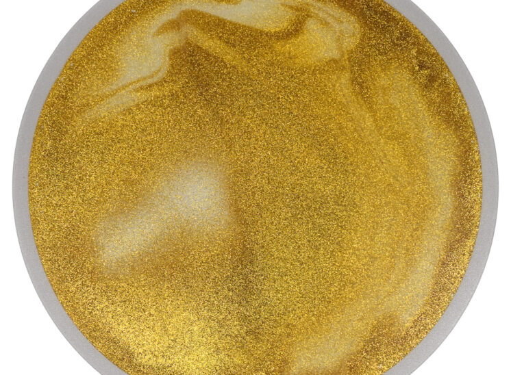 Playlearn product interactive glittering gold pressure sensitive squishy tile, round