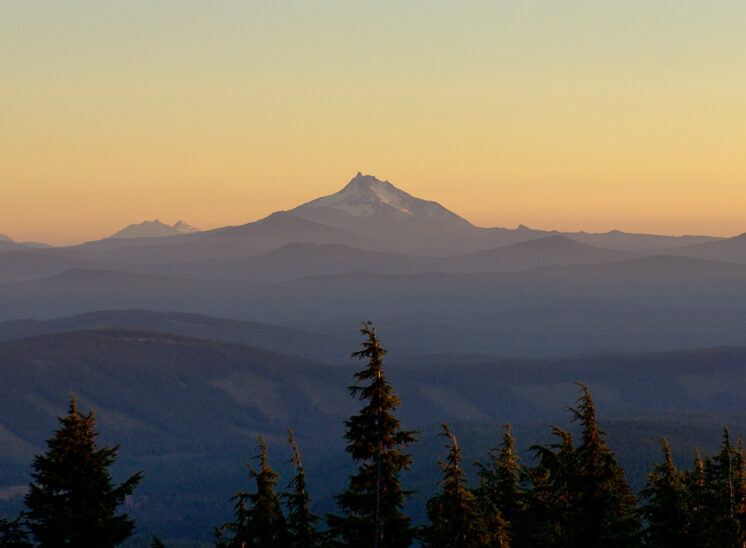 Alpenglow painting Mt. Jefferson, as seen from Timberline Lodge, Mt. Hood, Oregon. Jerry and Lois Photography
