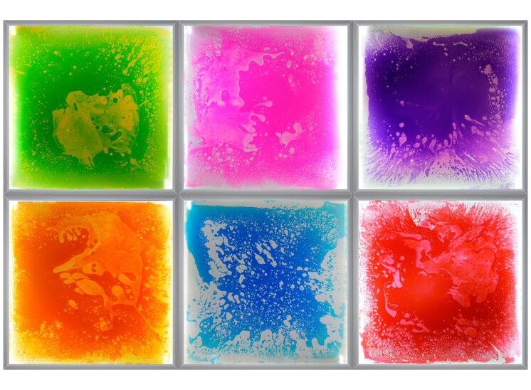 Playlearn product pressure sensitive interactive glowing colorful squishy tile, 6 tiles grouped together