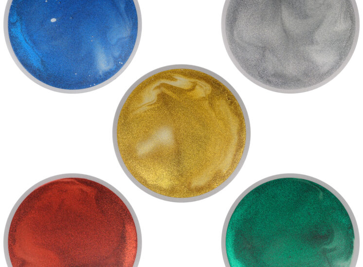 Playlearn product interactive glittering 5 colors pressure sensitive squishy tile collection, round, 5 tiles grouped together