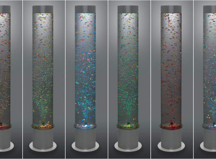 Playlearn product, interactive color changing, tall bead and bubble vertical water tube, 8 colors grouped together