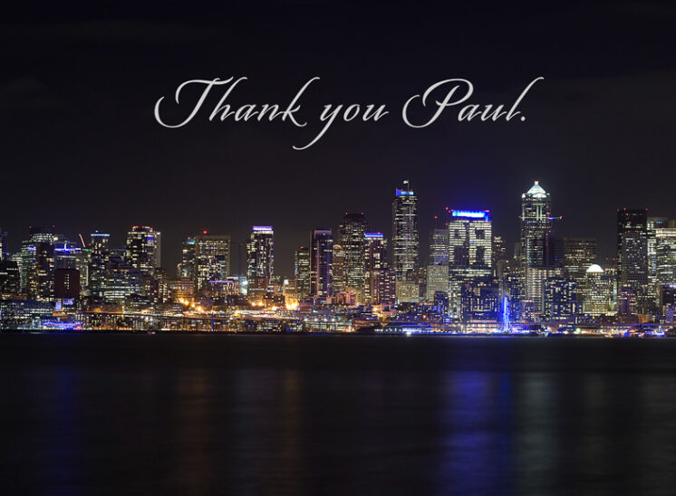 Seattle's tribute to Paul Allen Tribute, with the city turning Blue in gratitude, appreciation, and honor. Jerry and Lois Photography