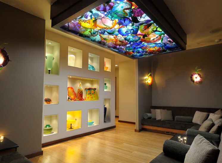 Featuring a Chihuly-inspired ceiling of fabulously illuminated glass, this was a room for therapeutic relaxation at a regional spa for a number of years. Jerry and Lois Photography