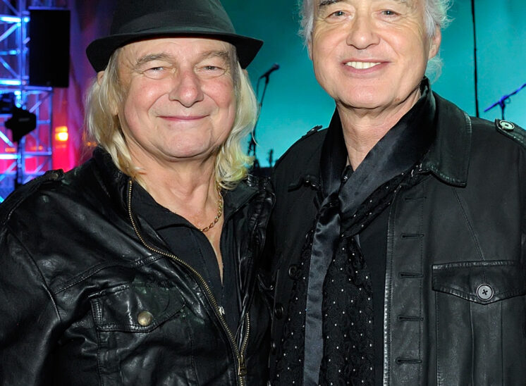 Jimmy Page and old friend, Alan White, after reconnecting. Another signature moment. © Jerry and Lois Photography
