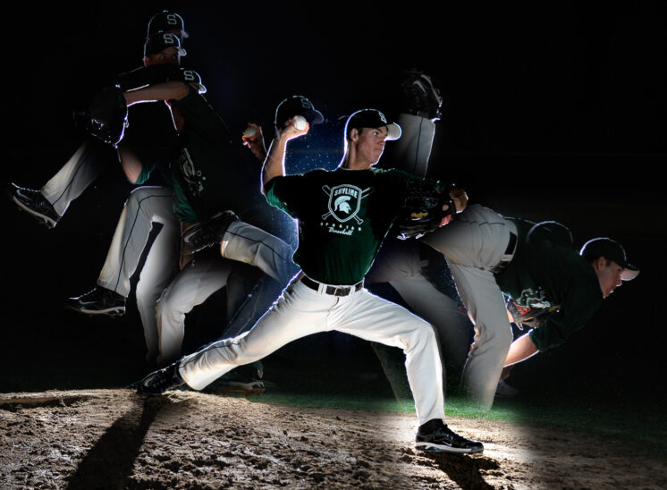 High School Senior photo multiple exposure for an ace pitcher. © Jerry and Lois Photography, all rights reserved