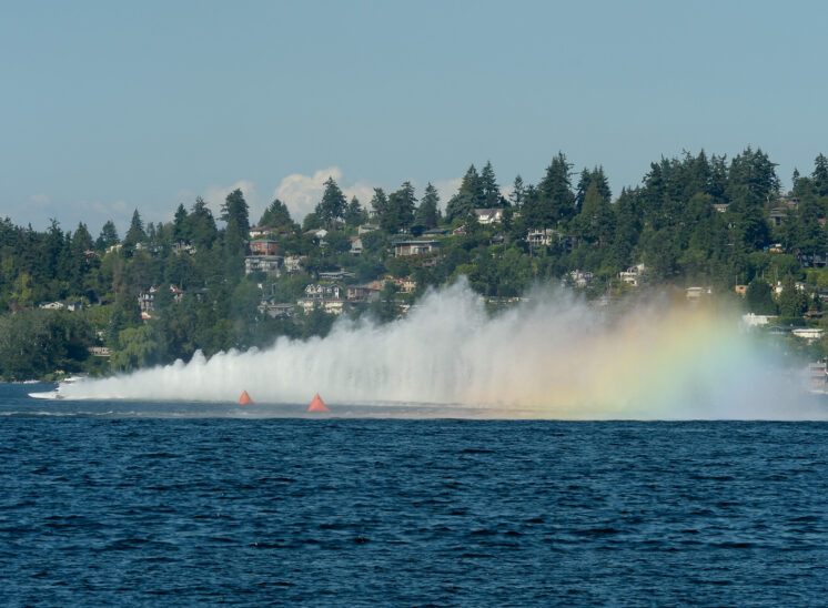Part of a series during Seattle's Seafair, a speeding hydroplane's