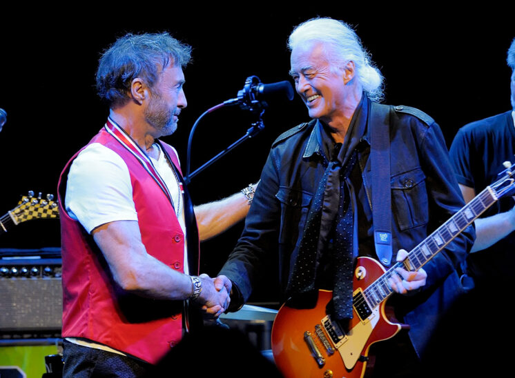 Jimmy greeting old friend and bandmate, Paul Rodgers. © Jerry and Lois Photography