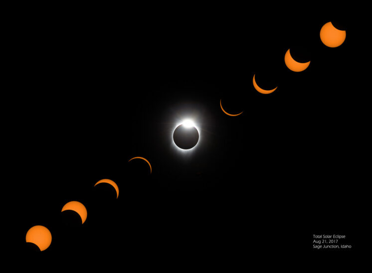 2017 Total Solar Eclipse composite progression including Diamond Ring with the sun's corona sharply defining its magnetosphere. Jerry and Lois Photography
